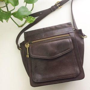 FOSSIL Genuine Leather Crossbody Messenger Bag